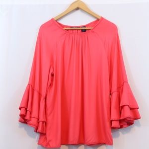 Life Style Tops - Life Style Pink Bell Sleeve Eyelet Embroidered Top